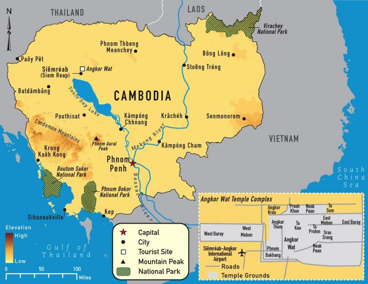 Camboya Mapa De Angkor Wat Angkor Mapa De Camboya Sur Este De